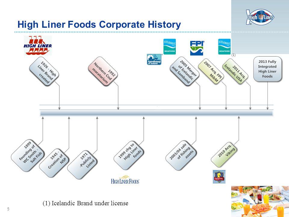 5 High Liner Foods Corporate History (1) Icelandic Brand under license (1)