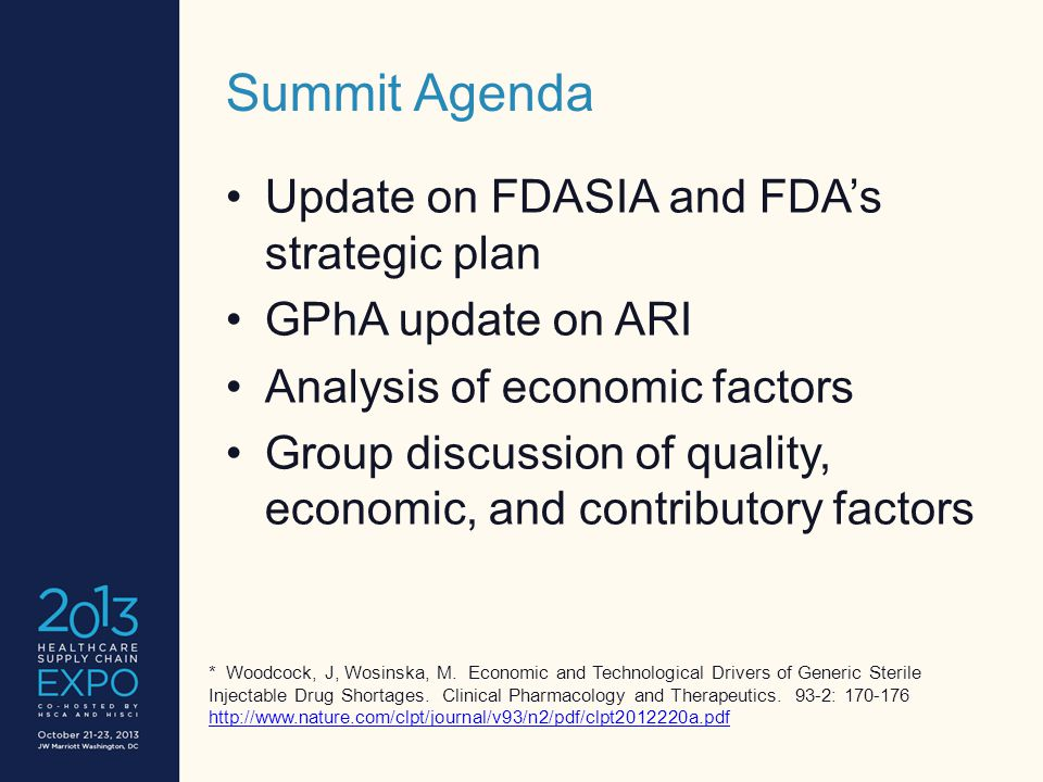 Summit Agenda Update on FDASIA and FDA's strategic plan GPhA update on ARI Analysis of economic factors Group discussion of quality, economic, and contributory factors * Woodcock, J, Wosinska, M.
