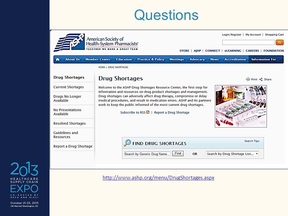 Questions http://www.ashp.org/menu/DrugShortages.aspx