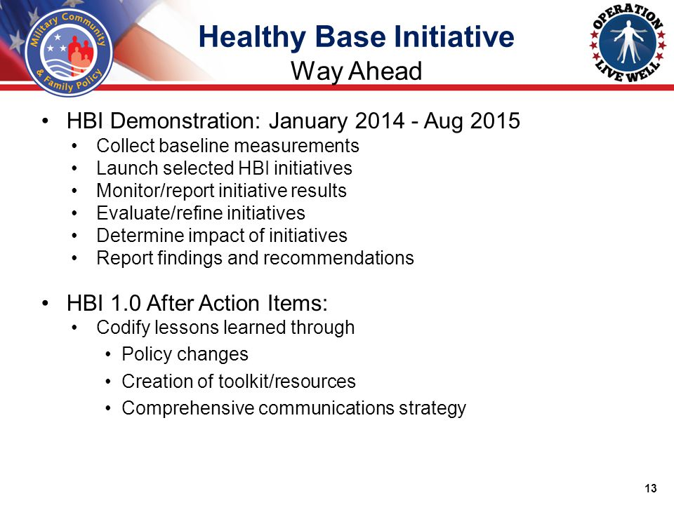 HBI Demonstration: January 2014 - Aug 2015 Collect baseline measurements Launch selected HBI initiatives Monitor/report initiative results Evaluate/refine initiatives Determine impact of initiatives Report findings and recommendations HBI 1.0 After Action Items: Codify lessons learned through Policy changes Creation of toolkit/resources Comprehensive communications strategy 13 Healthy Base Initiative Way Ahead