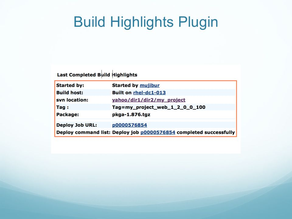 Build Highlights Plugin