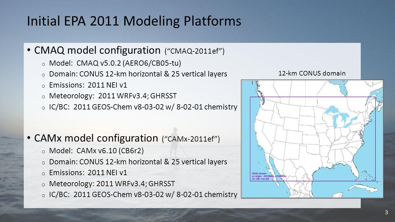 """Initial EPA 2011 Modeling Platforms CMAQ model configuration (""""CMAQ-2011ef"""") o Model: CMAQ v5.0.2 (AERO6/CB05-tu) o Domain: CONUS 12-km horizontal & 2"""