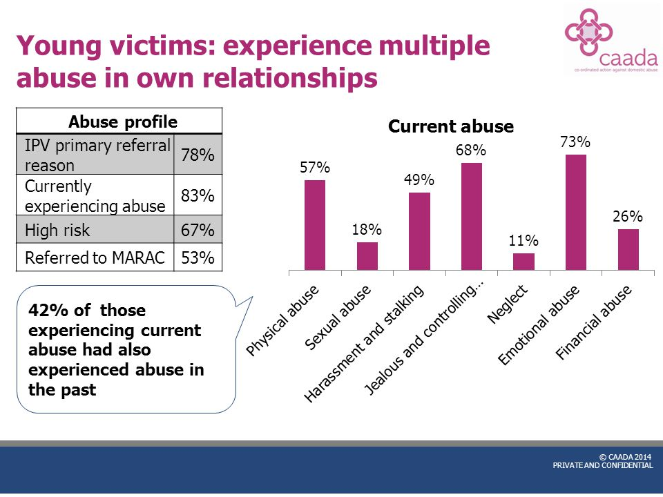 © CAADA 2014 PRIVATE AND CONFIDENTIAL Young victims: experience multiple abuse in own relationships Abuse profile IPV primary referral reason 78% Curr