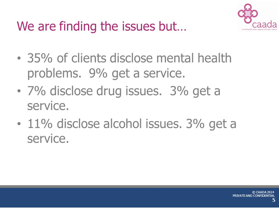 © CAADA 2014 PRIVATE AND CONFIDENTIAL We are finding the issues but… 35% of clients disclose mental health problems. 9% get a service. 7% disclose dru