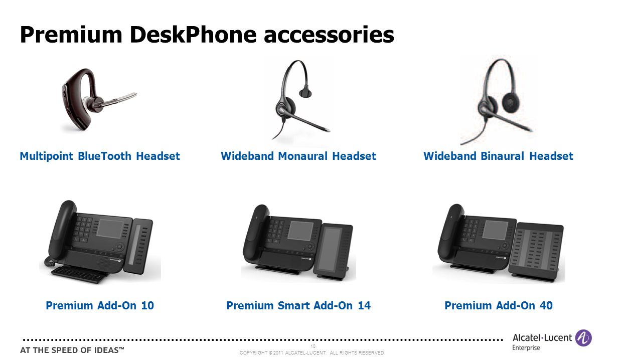COPYRIGHT © 2011 ALCATEL-LUCENT. ALL RIGHTS RESERVED. 10 Premium DeskPhone accessories Premium Add-On 10Premium Smart Add-On 14Premium Add-On 40 Wideb