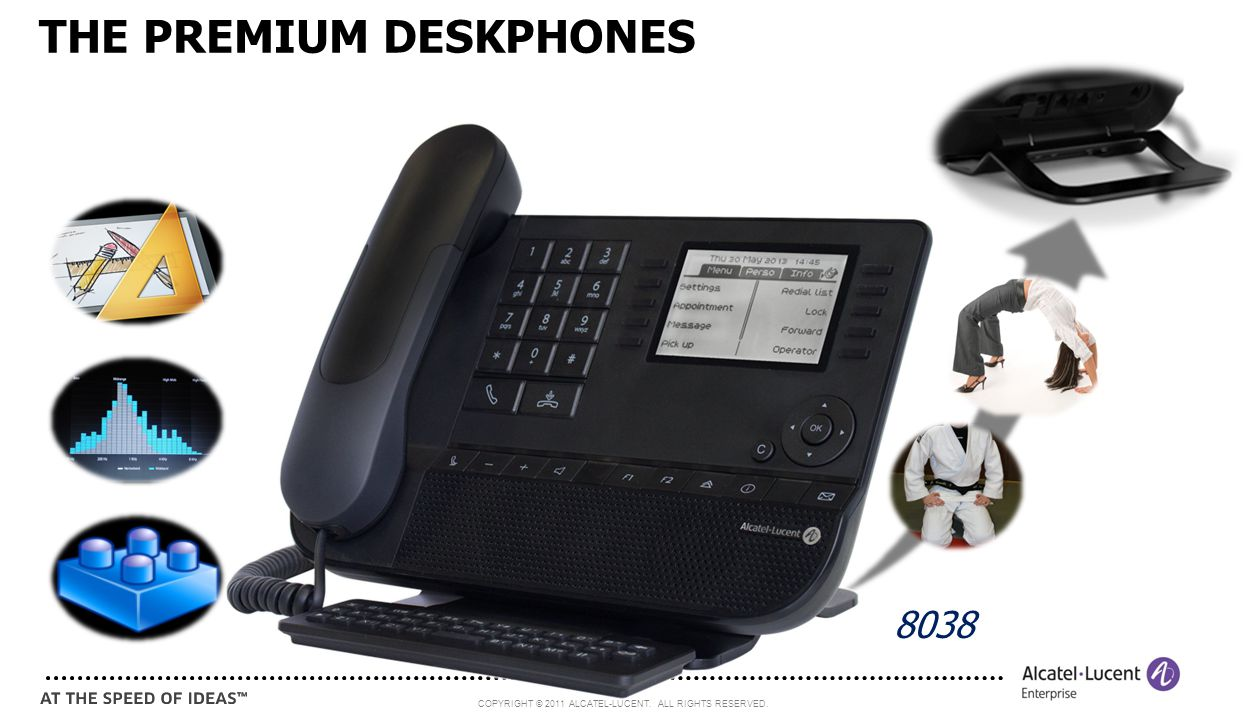 COPYRIGHT © 2011 ALCATEL-LUCENT. ALL RIGHTS RESERVED. 5 THE PREMIUM DESKPHONES 8038