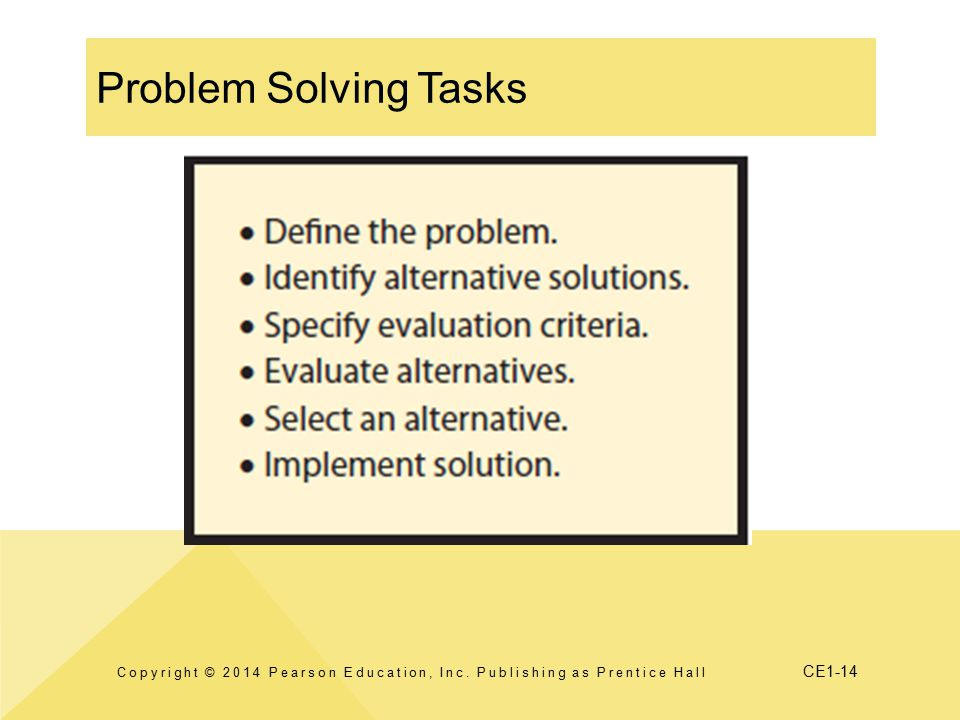 CE1-14 Problem Solving Tasks Copyright © 2014 Pearson Education, Inc. Publishing as Prentice Hall