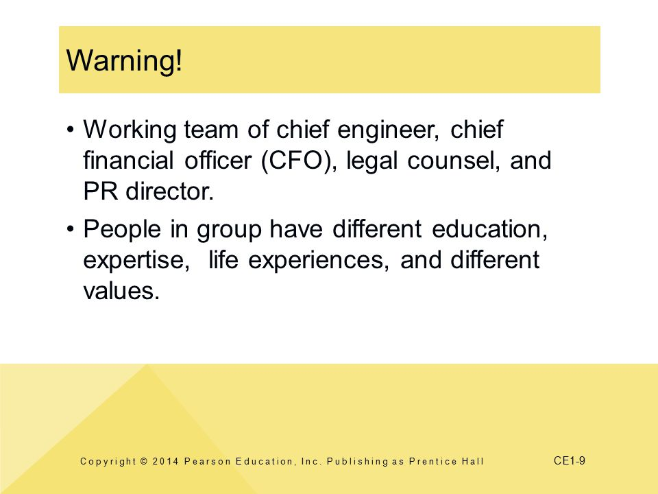 CE1-9 Warning.