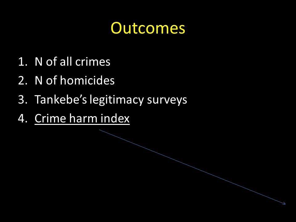 Outcomes 1.N of all crimes 2.N of homicides 3.Tankebe's legitimacy surveys 4.Crime harm index