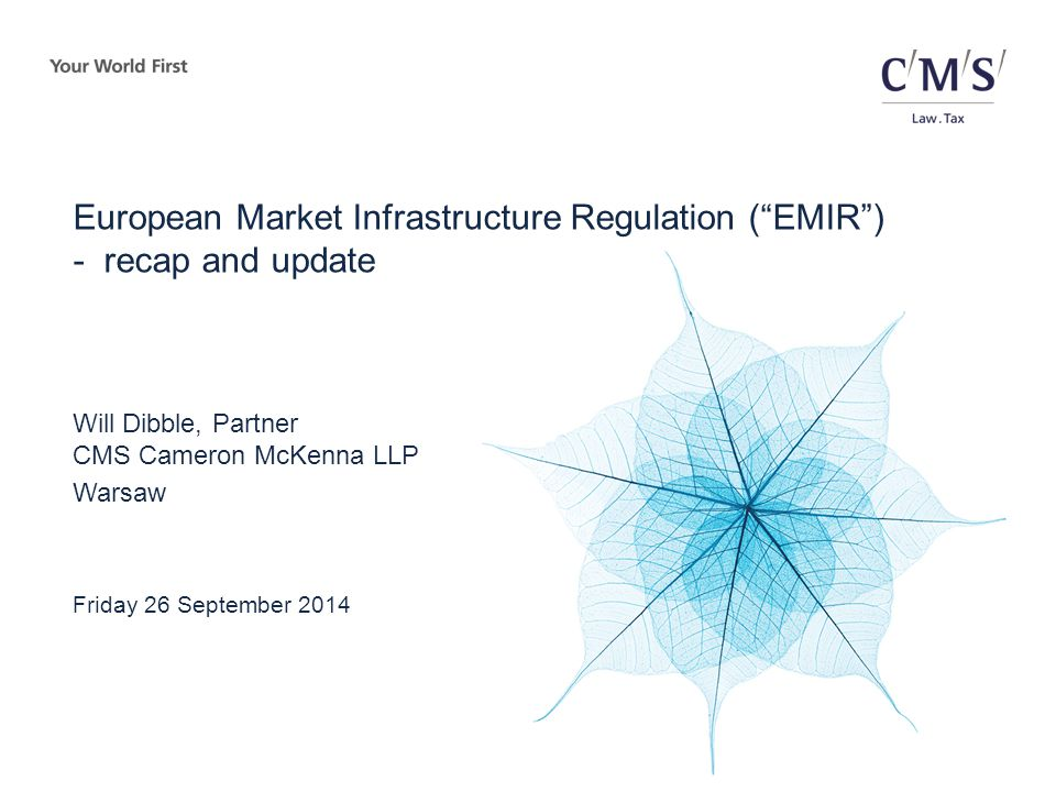 Future stages of the EMIR implementation Clearing - obligation (cont.)  ESMA is required to draft RTS on the clearing obligation within six months of the authorisation of the CCPs  ESMA published two consultation papers on 11 July 2014 (comment periods closed 18 August 2014 and 18 September 2014)  ESMA was expected to publish first draft RTS by 18 September 2014.
