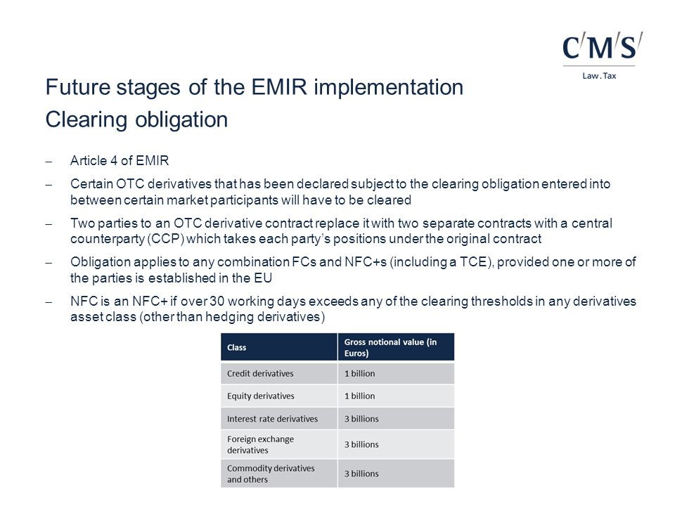 Future stages of the EMIR implementation Clearing obligation  Article 4 of EMIR  Certain OTC derivatives that has been declared subject to the clear