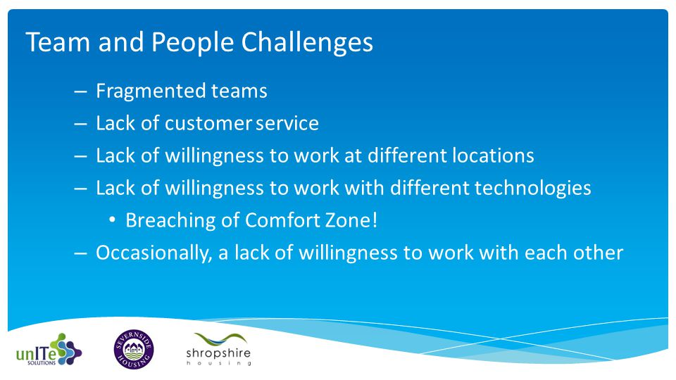 – Fragmented teams – Lack of customer service – Lack of willingness to work at different locations – Lack of willingness to work with different technologies Breaching of Comfort Zone.