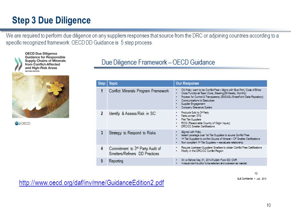 Step 3 Due Diligence 10 We are required to perform due diligence on any suppliers responses that source from the DRC or adjoining countries according