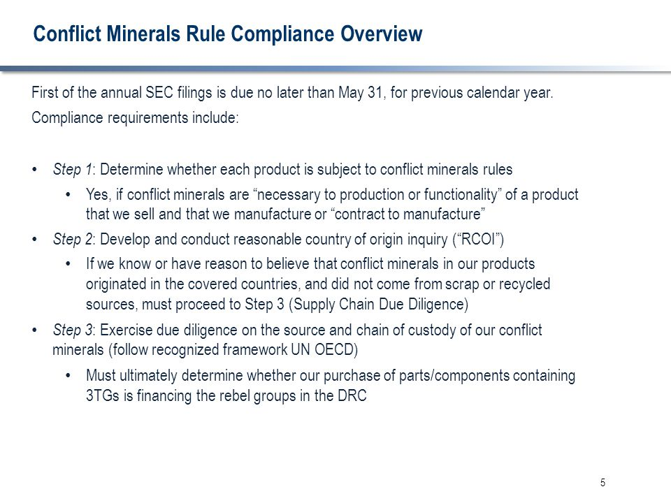 5 Conflict Minerals Rule Compliance Overview First of the annual SEC filings is due no later than May 31, for previous calendar year. Compliance requi
