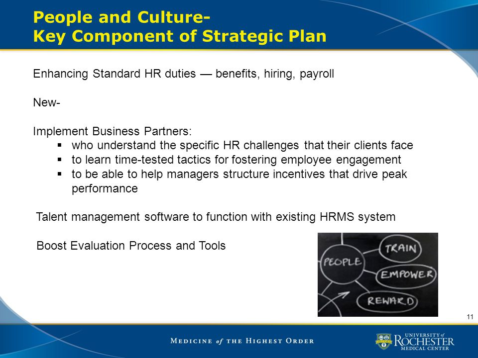 People and Culture- Key Component of Strategic Plan 11 Enhancing Standard HR duties — benefits, hiring, payroll New- Implement Business Partners:  wh
