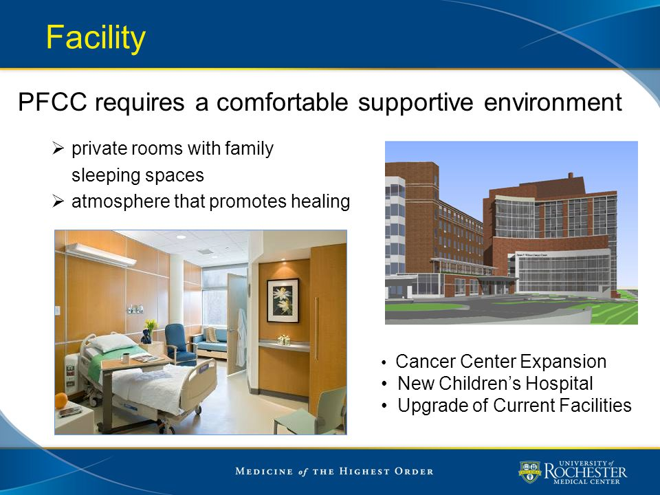Facility PFCC requires a comfortable supportive environment  private rooms with family sleeping spaces  atmosphere that promotes healing Cancer Cent