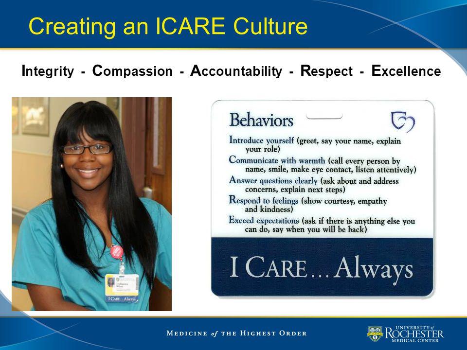 Creating an ICARE Culture I ntegrity - C ompassion - A ccountability - R espect - E xcellence