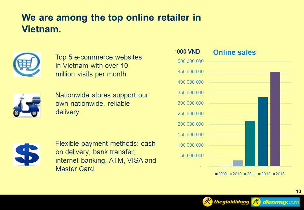 10 We are among the top online retailer in Vietnam.