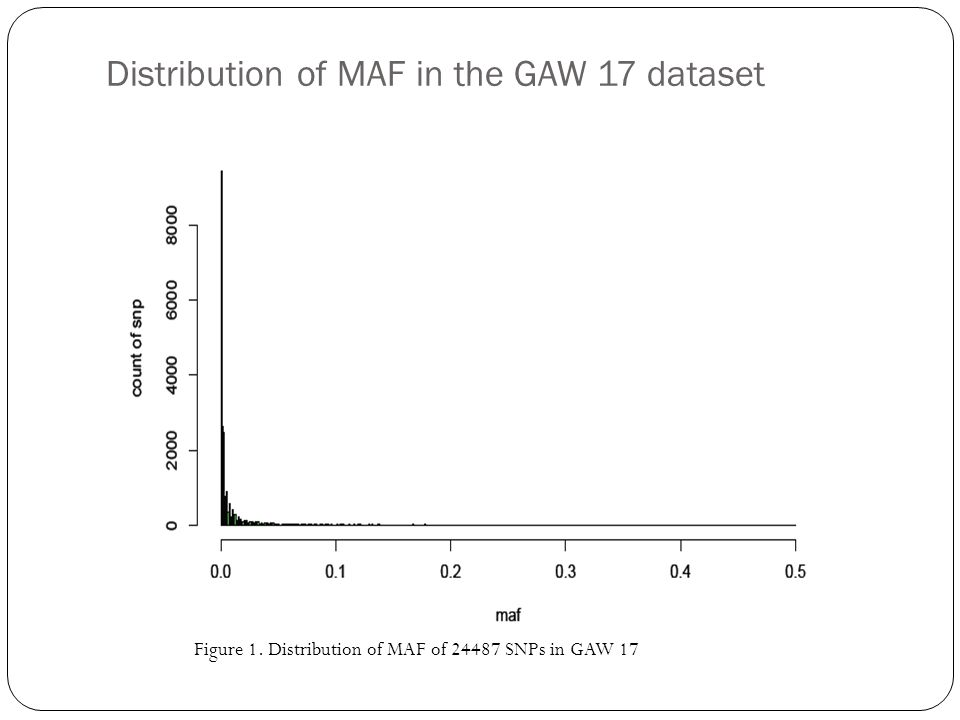 Distribution of MAF in the GAW 17 dataset Figure 1. Distribution of MAF of 24487 SNPs in GAW 17