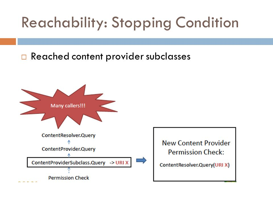 Reachability: Stopping Condition  Reached content provider subclasses