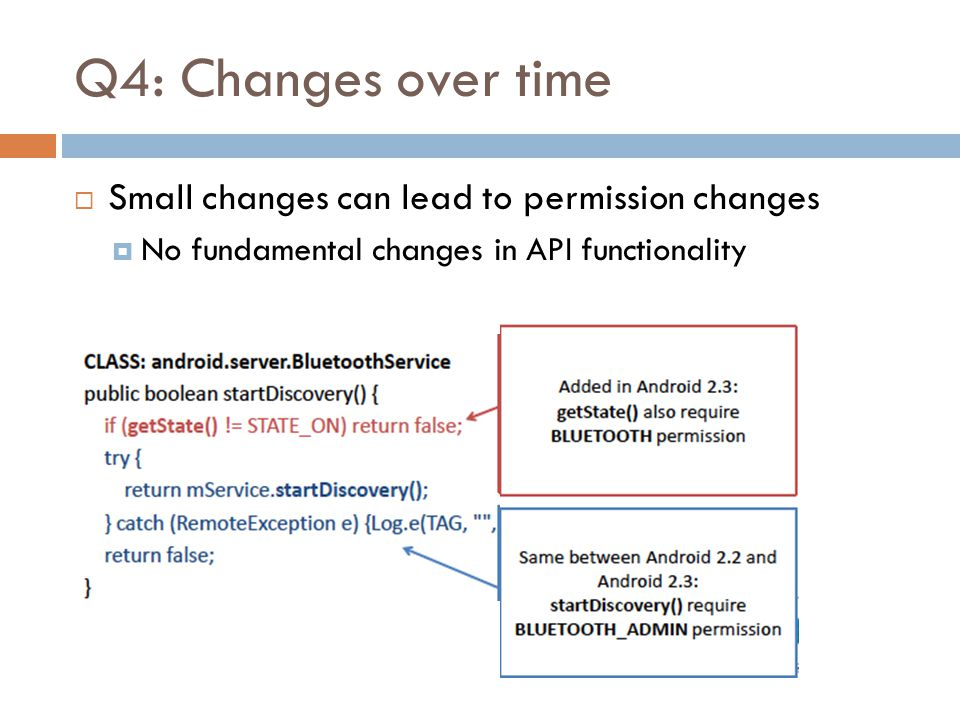 Q4: Changes over time  Small changes can lead to permission changes  No fundamental changes in API functionality