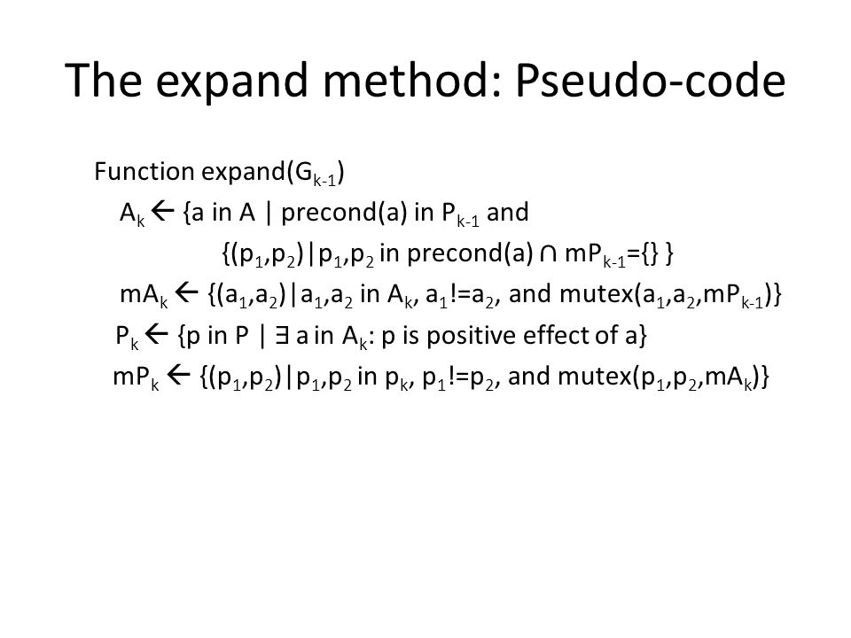 The expand method: Pseudo-code