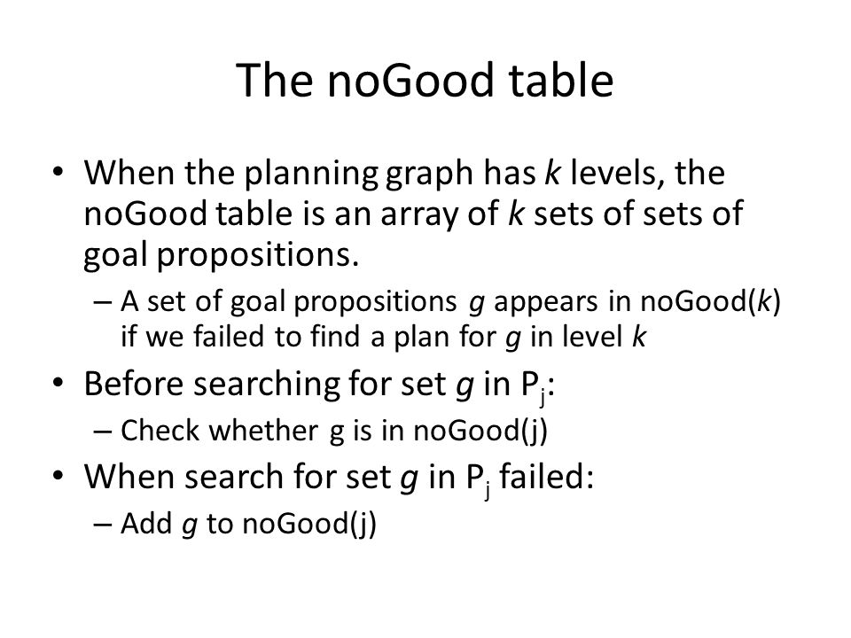 The noGood table When the planning graph has k levels, the noGood table is an array of k sets of sets of goal propositions.