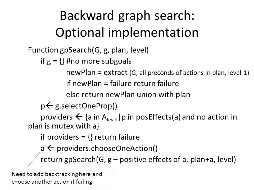 Backward graph search: Optional implementation Function gpSearch(G, g, plan, level) if g = {} #no more subgoals newPlan = extract (G, all preconds of actions in plan, level-1) if newPlan = failure return failure else return newPlan union with plan p  g.selectOneProp() providers  {a in A level |p in posEffects(a) and no action in plan is mutex with a} if providers = {} return failure a  providers.chooseOneAction() return gpSearch(G, g – positive effects of a, plan+a, level) Need to add backtracking here and choose another action if failing