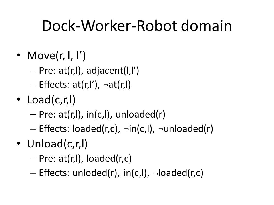 Dock-Worker-Robot domain Move(r, l, l') – Pre: at(r,l), adjacent(l,l') – Effects: at(r,l'), ¬at(r,l) Load(c,r,l) – Pre: at(r,l), in(c,l), unloaded(r) – Effects: loaded(r,c), ¬in(c,l), ¬unloaded(r) Unload(c,r,l) – Pre: at(r,l), loaded(r,c) – Effects: unloded(r), in(c,l), ¬loaded(r,c)