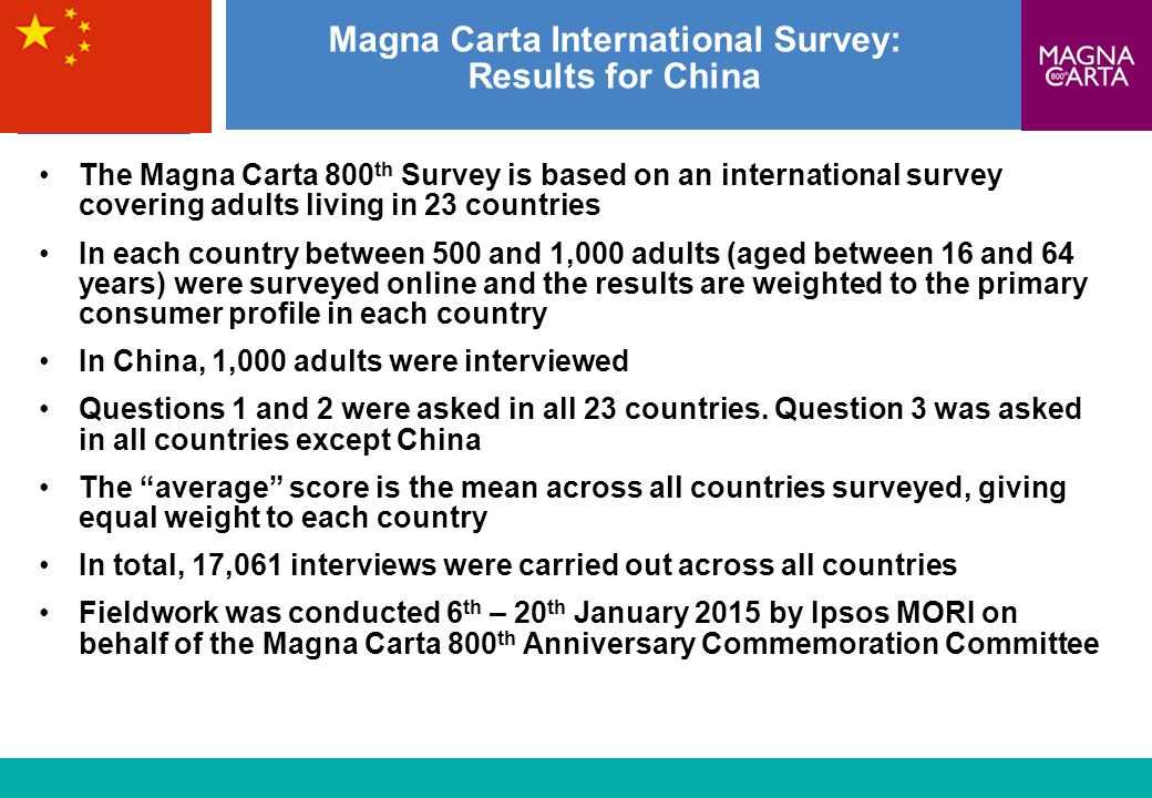 1 Magna Carta International Survey: Results for China The Magna Carta 800 th Survey is based on an international survey covering adults living in 23 c