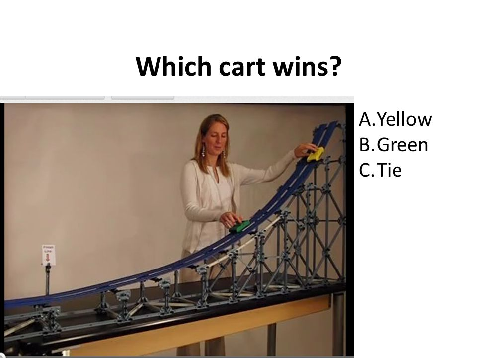 Which cart wins A.Yellow B.Green C.Tie