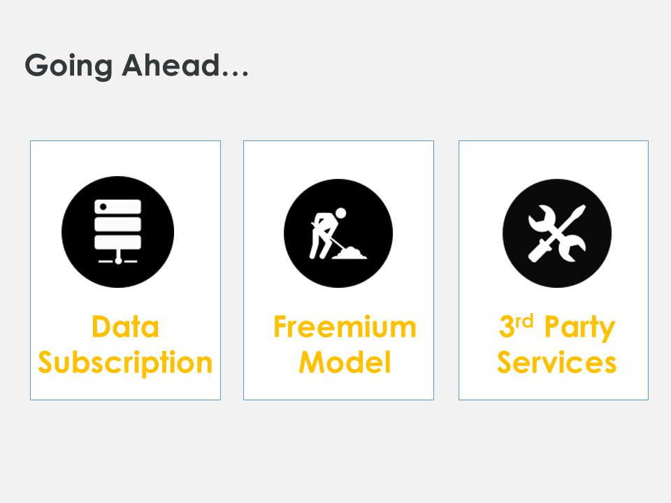 Going Ahead… Data Subscription Freemium Model 3 rd Party Services