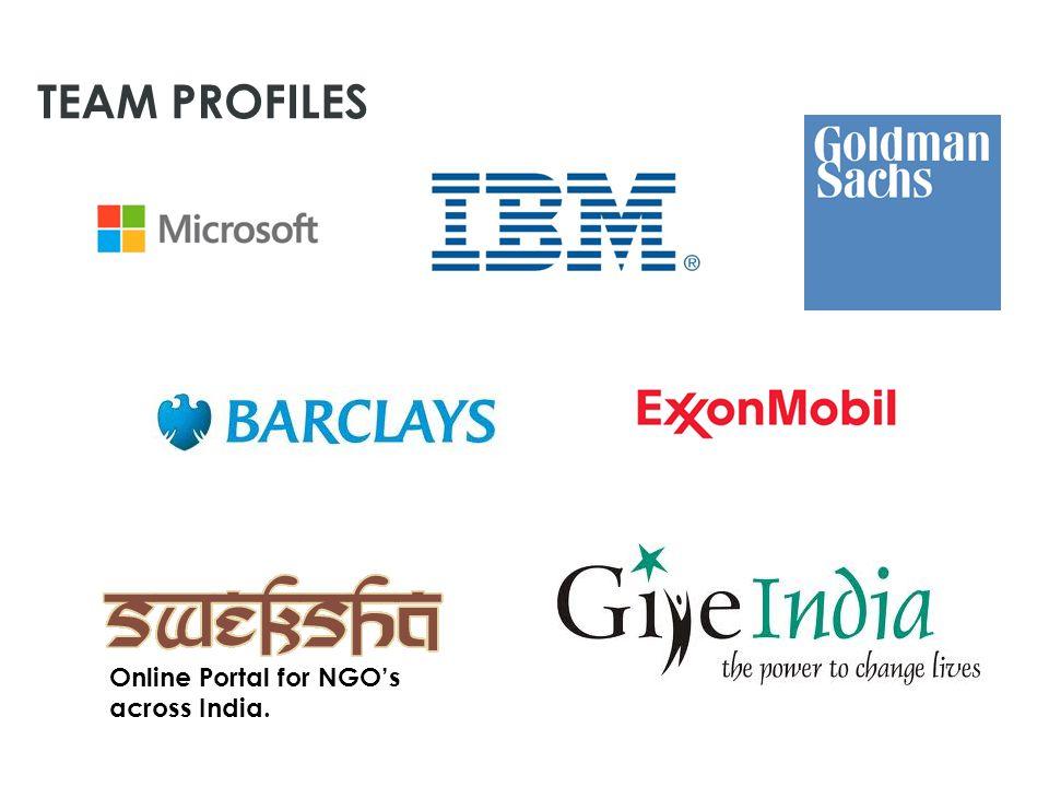 Online Portal for NGO's across India. TEAM PROFILES