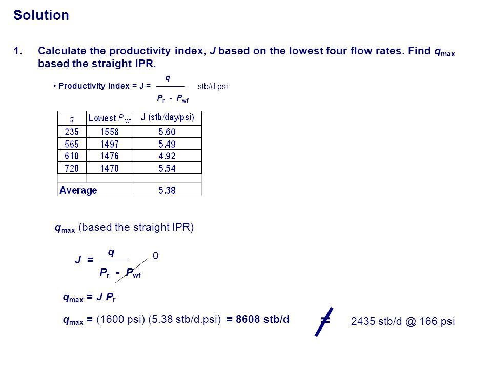 Solution q P r - P wf Productivity Index = J = stb/d.psi q max (based the straight IPR) J = q P r - P wf 0 q max = J P r q max = (1600 psi) (5.38 stb/
