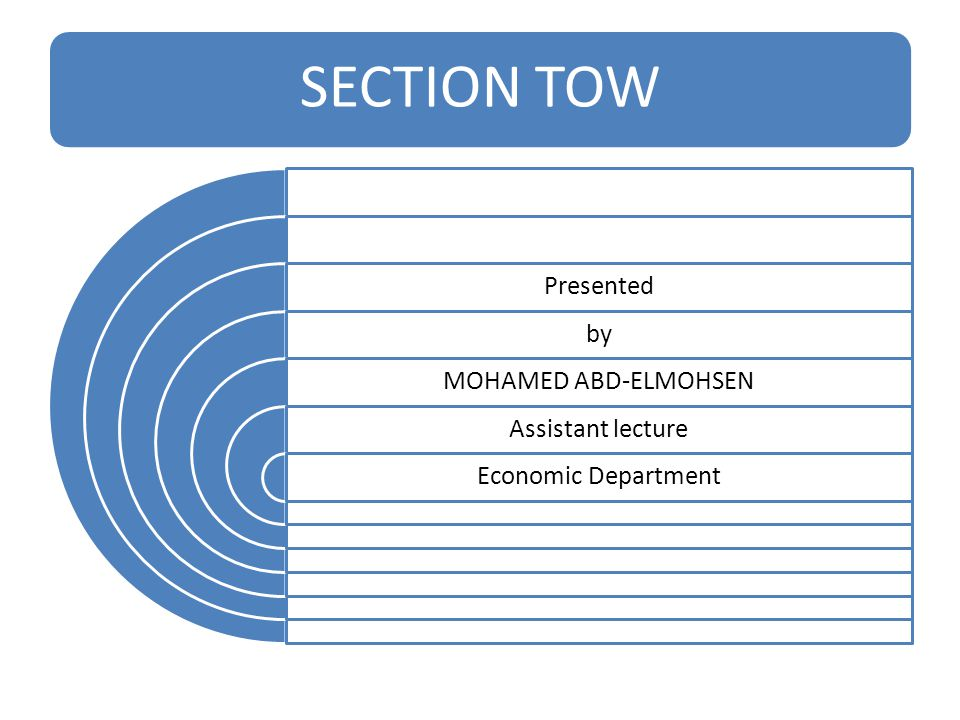 SECTION TOW Presented by MOHAMED ABD-ELMOHSEN Assistant lecture Economic Department
