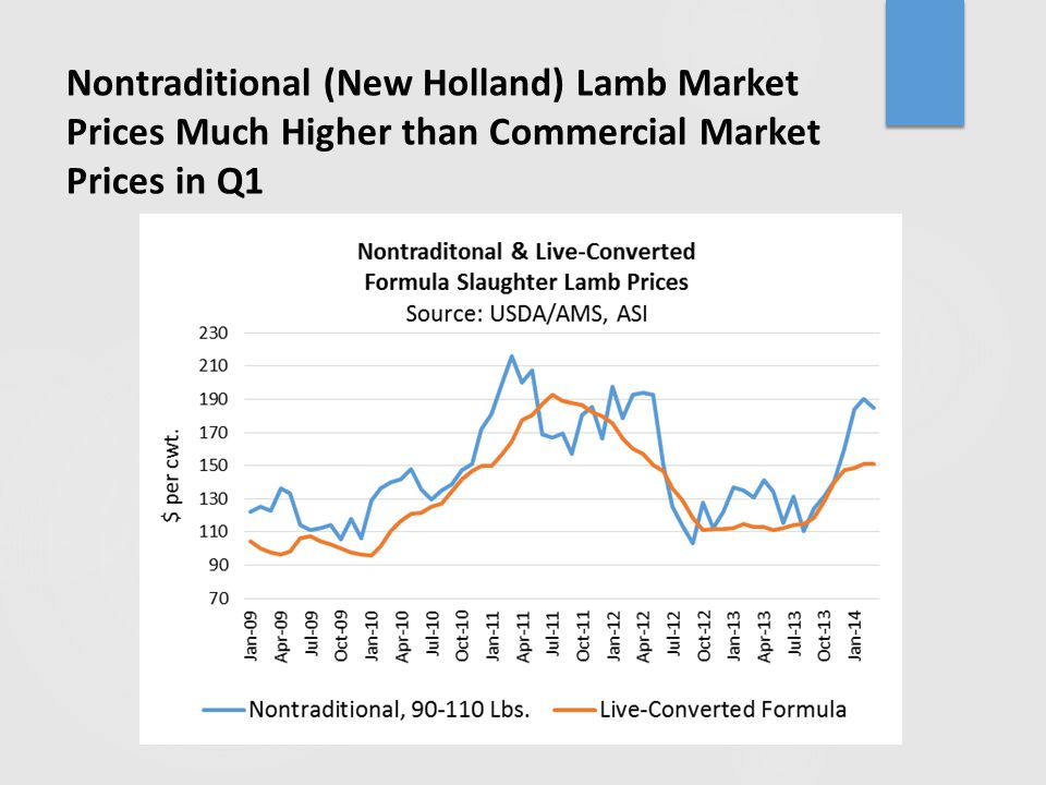 Nontraditional (New Holland) Lamb Market Prices Much Higher than Commercial Market Prices in Q1
