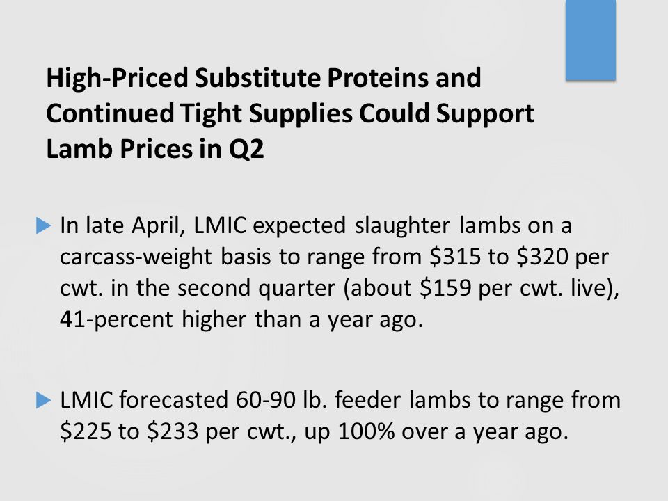 High-Priced Substitute Proteins and Continued Tight Supplies Could Support Lamb Prices in Q2  In late April, LMIC expected slaughter lambs on a carca