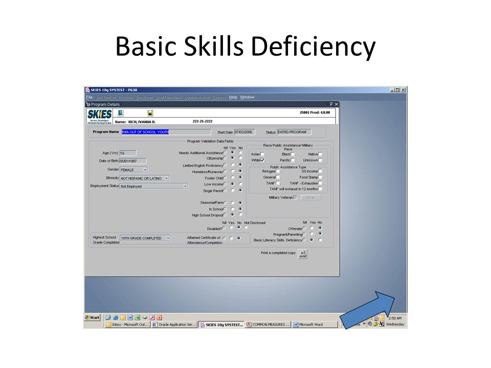 Basic Skills Deficiency