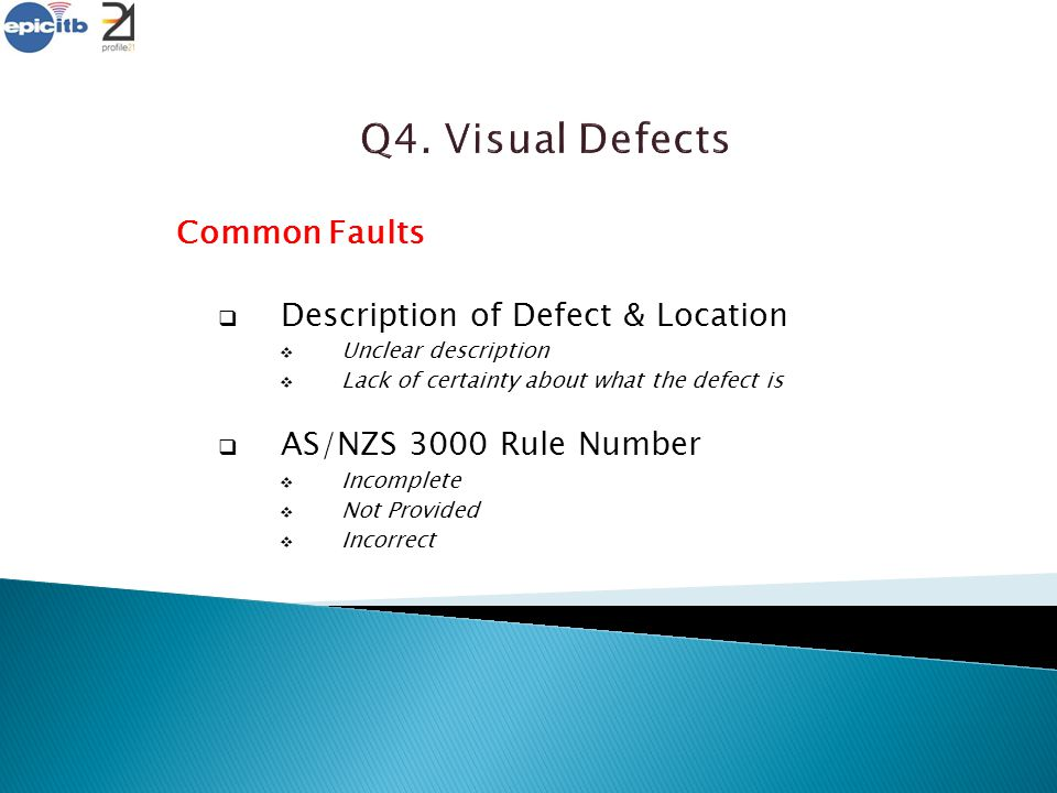 Common Faults  Description of Defect & Location  Unclear description  Lack of certainty about what the defect is  AS/NZS 3000 Rule Number  Incomp