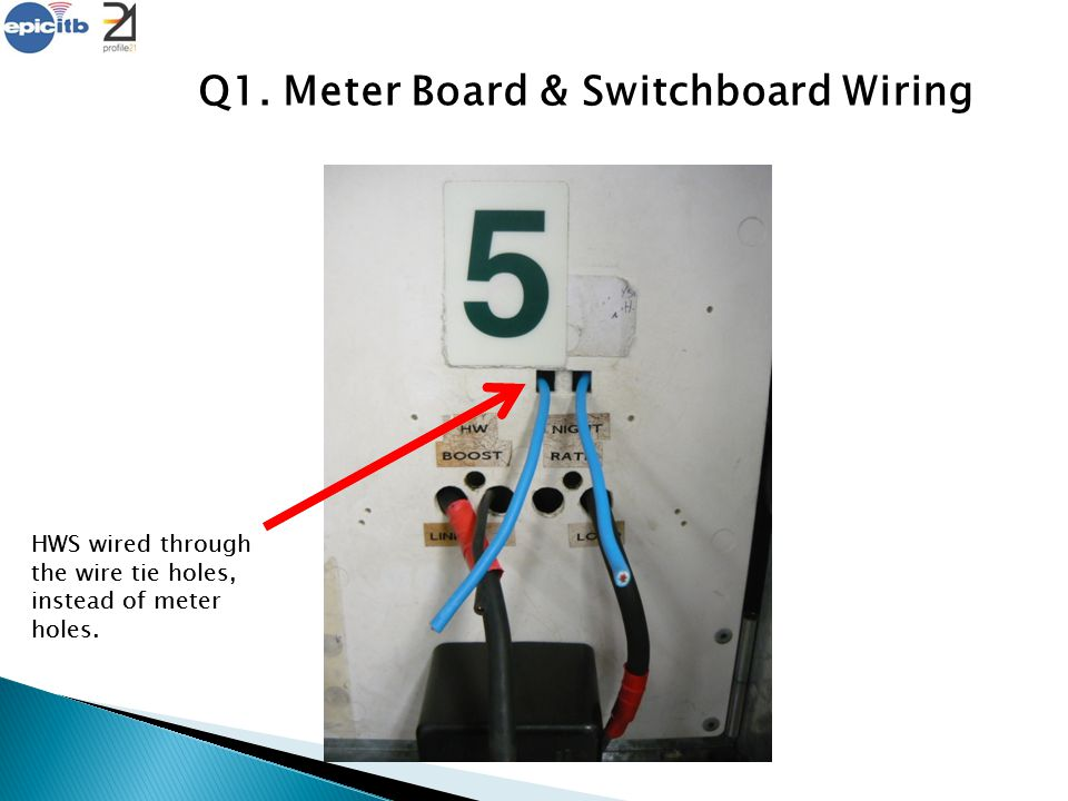Q1. Meter Board & Switchboard Wiring HWS wired through the wire tie holes, instead of meter holes.