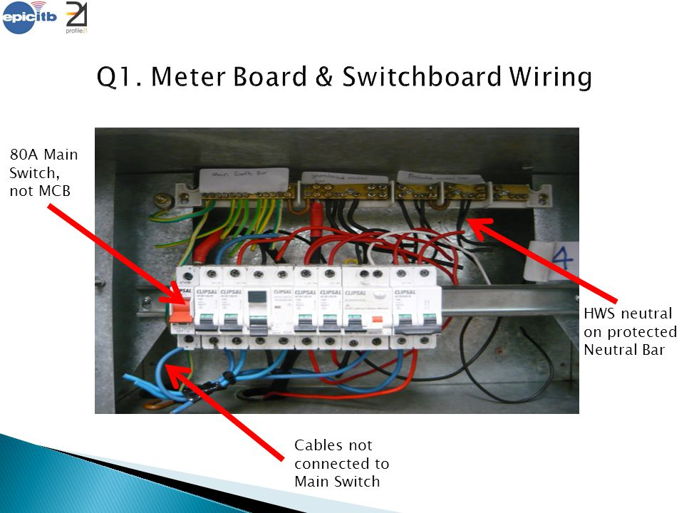 80A Main Switch, not MCB HWS neutral on protected Neutral Bar Cables not connected to Main Switch