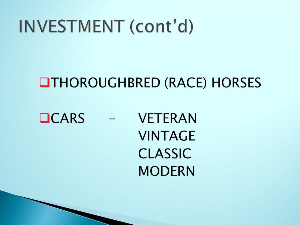  THOROUGHBRED (RACE) HORSES  CARS-VETERAN VINTAGE CLASSIC MODERN