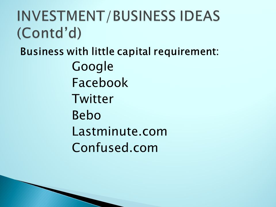 Business with little capital requirement: Google Facebook Twitter Bebo Lastminute.com Confused.com