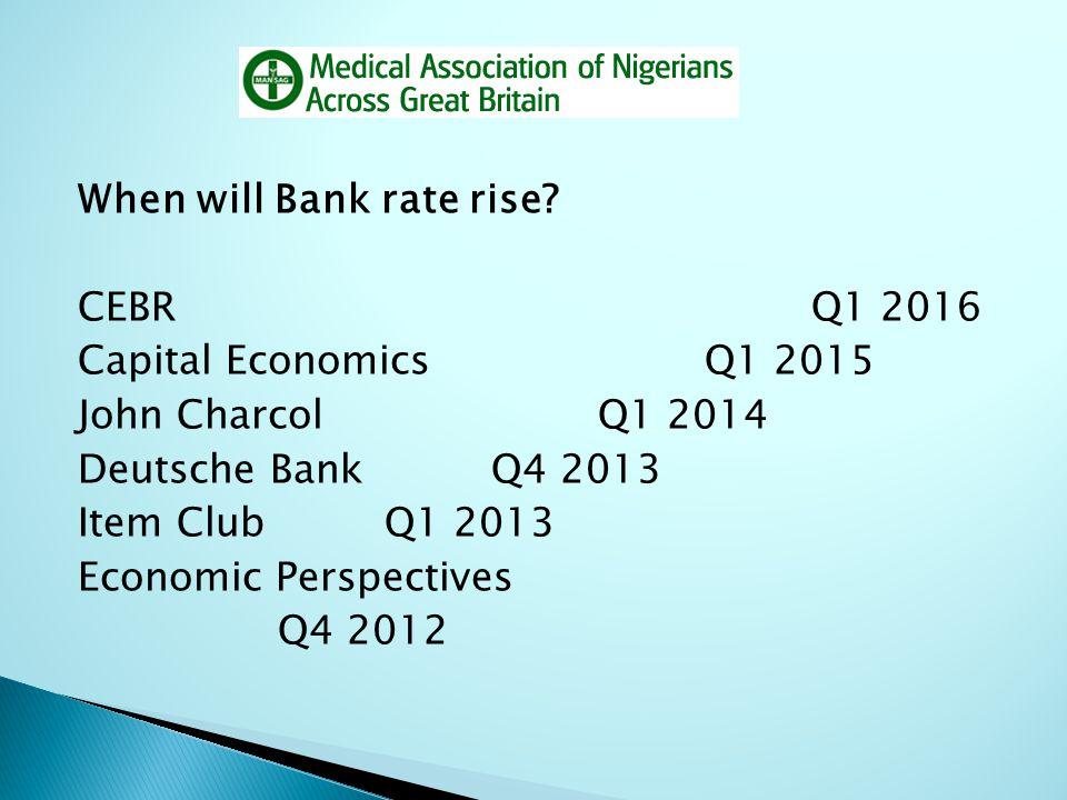 When will Bank rate rise? CEBRQ1 2016 Capital EconomicsQ1 2015 John CharcolQ1 2014 Deutsche BankQ4 2013 Item Club Q1 2013 Economic Perspectives Q4 201