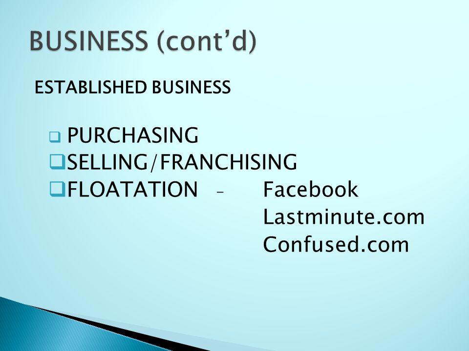 ESTABLISHED BUSINESS  PURCHASING  SELLING/FRANCHISING  FLOATATION - Facebook Lastminute.com Confused.com