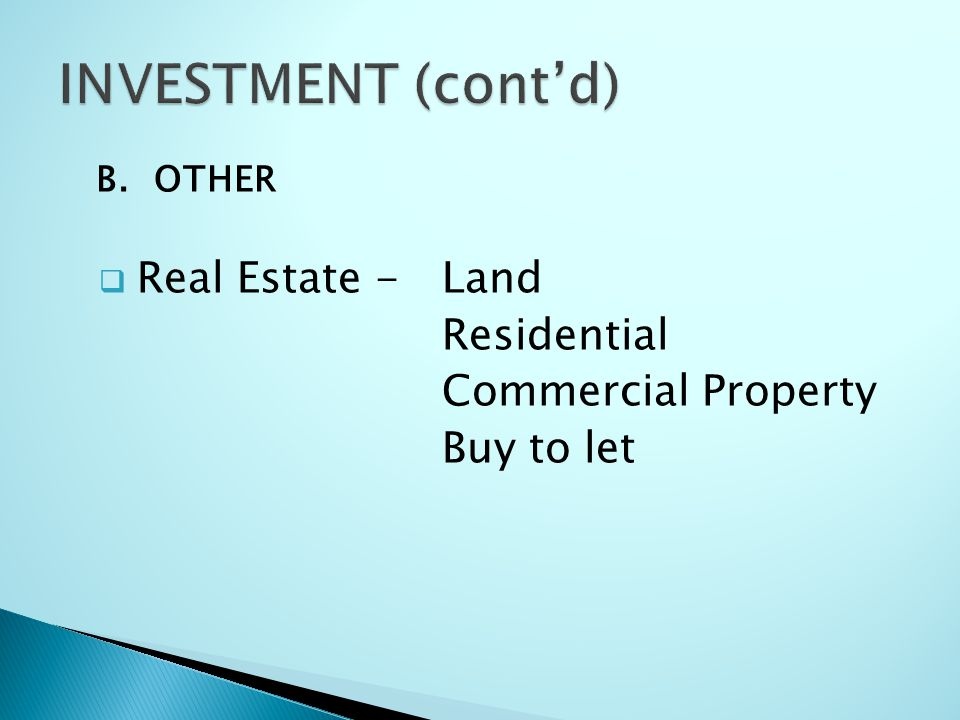 B.OTHER  Real Estate -Land Residential Commercial Property Buy to let