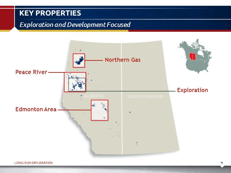LONG RUN EXPLORATION KEY PROPERTIES 9 Exploration and Development Focused Peace River Edmonton Area Northern Gas Exploration