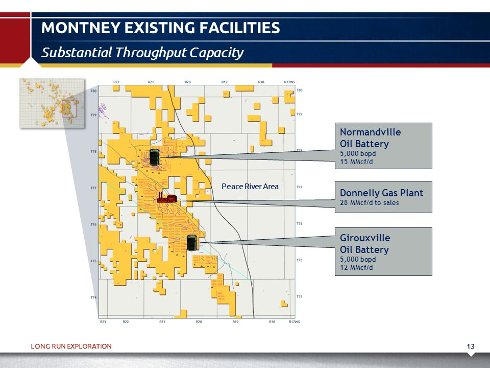 LONG RUN EXPLORATION MONTNEY EXISTING FACILITIES 13 Substantial Throughput Capacity Donnelly Gas Plant 28 MMcf/d to sales Girouxville Oil Battery 5,00