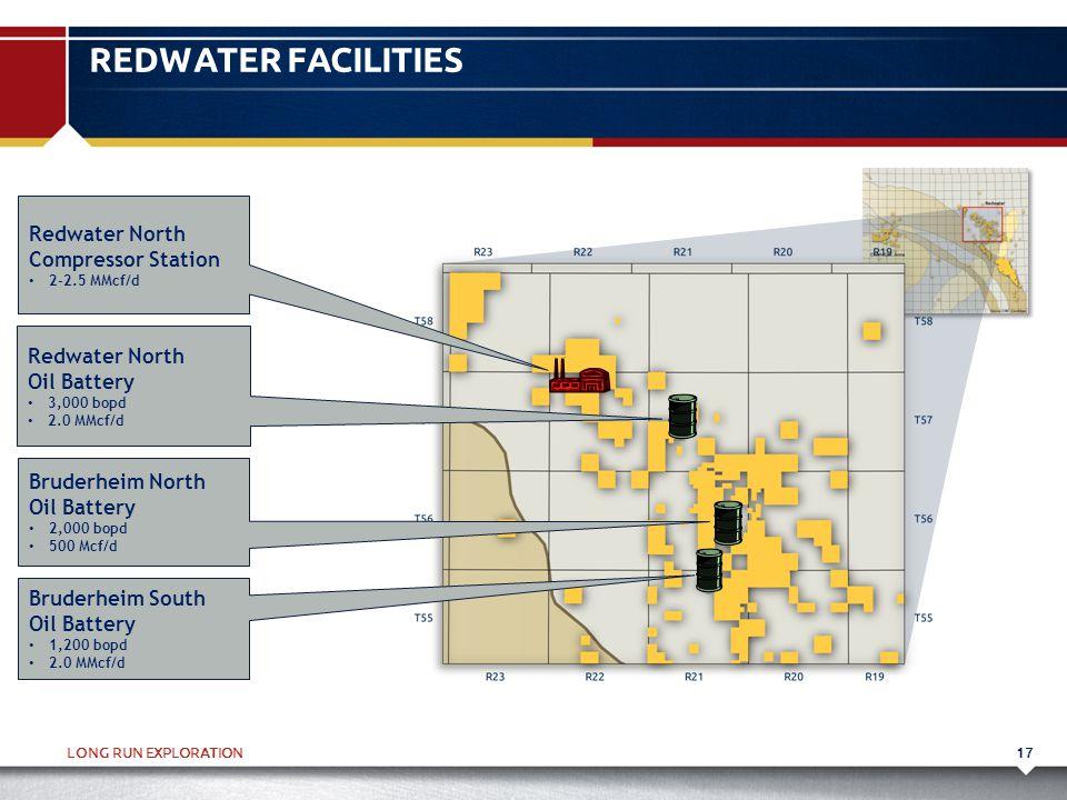 LONG RUN EXPLORATION17 REDWATER FACILITIES Bruderheim North Oil Battery 2,000 bopd 500 Mcf/d Bruderheim South Oil Battery 1,200 bopd 2.0 MMcf/d Redwat