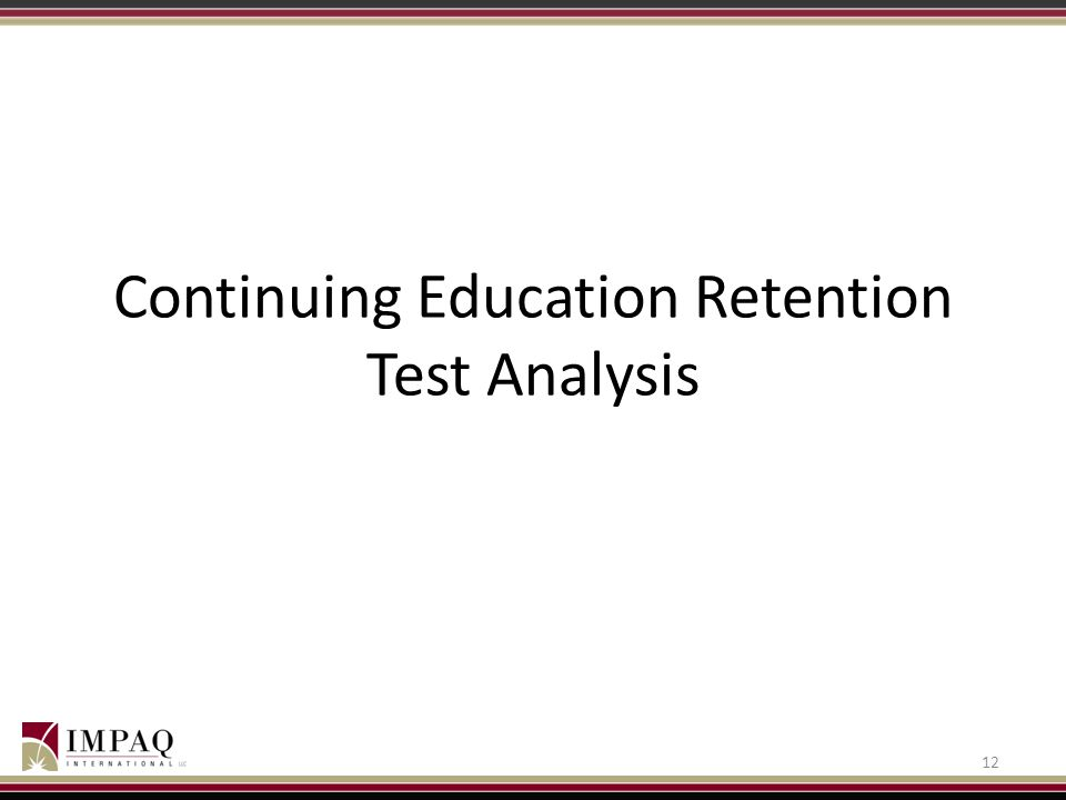 Continuing Education Retention Test Analysis 12